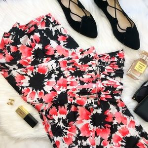 Pink & Black Floral Pleated Detail Blouse